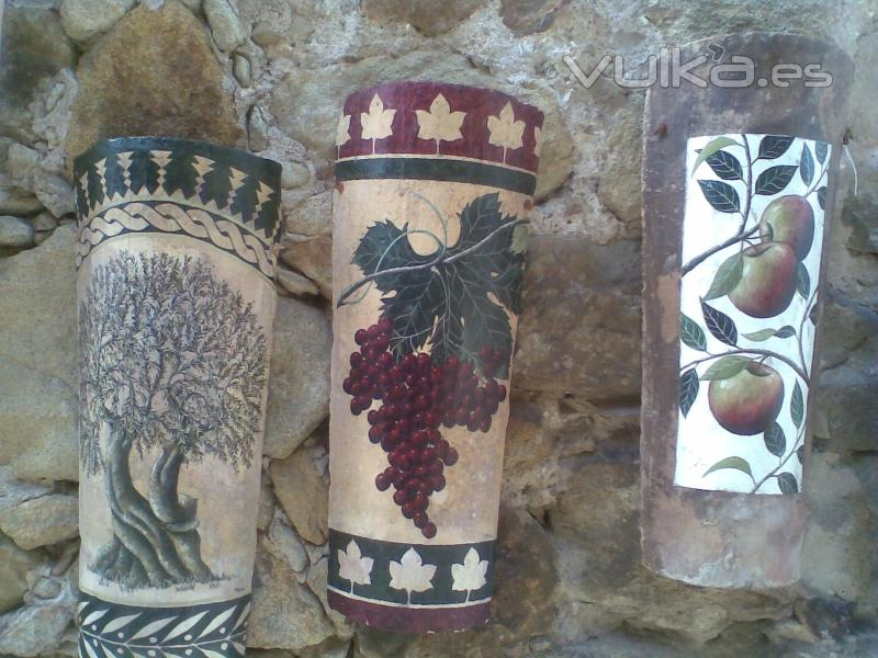 Foto apliques con teja decorada - Como decorar tejas rusticas ...