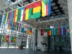 5� encuentro espa�a �frica centro eventos feria valencia . acceso ppal. feria valencia. banderas