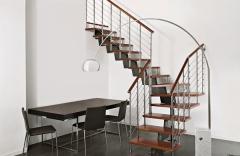 Escalera en acero inoxidable y madera, modelo reflex titan