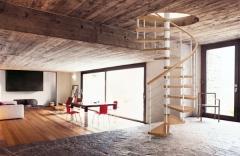 Escalera de caracol en metal y madera, modelo genius t 020