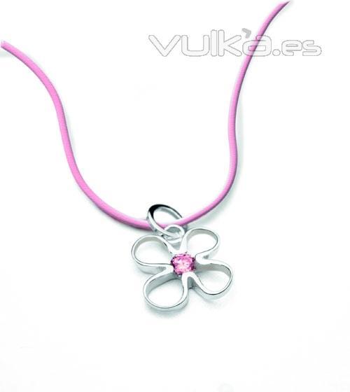 Colgante Flor de Vida M de plata rodiada. y corindón rosa. 49EUR