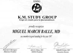 Diploma de miembro del grupo internacional de estudio de la keratomileusis (kmsg).1997.