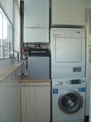 Caldera, descalcificador, lavadora y secadora