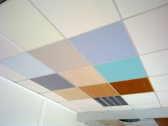 Diferentes tipos de placas decoradas vinilicas para techos desmontables
