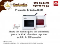 Promoci�n de navidad 2010 illy con decovending asturias para poder tomarse el mejor espresso en casa
