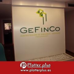 Panel impreso directamente sobre forex de 1,7x 1,9 metros y su posterior colocación para gefinco