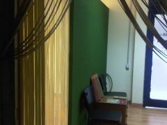 Pared interior en tono verde, oficina palma.-