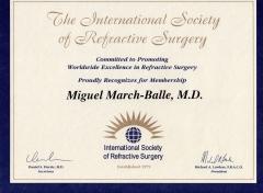 Diploma de miembro de la sociedad internacional de cirugía refractiva (isrs).